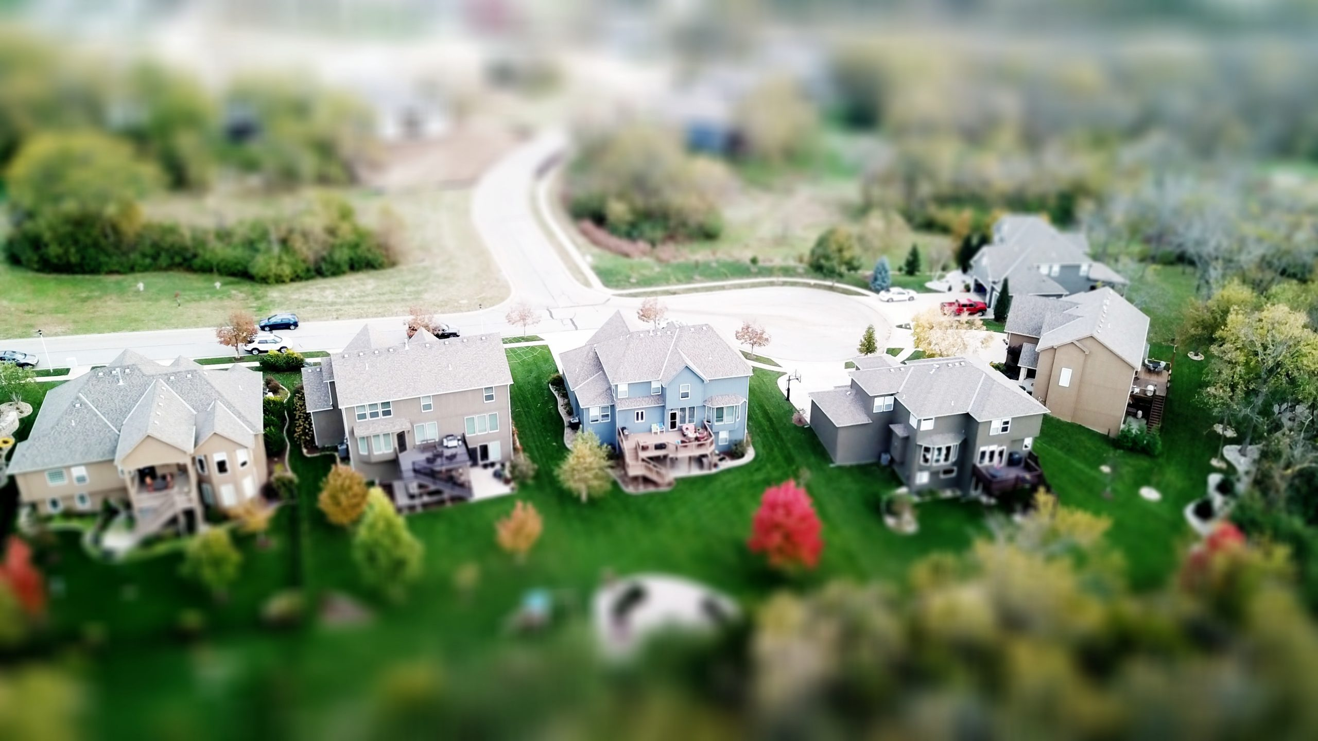 aerial view homes